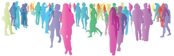 Bunte Menschen in der Stadt - silhouette - vektor